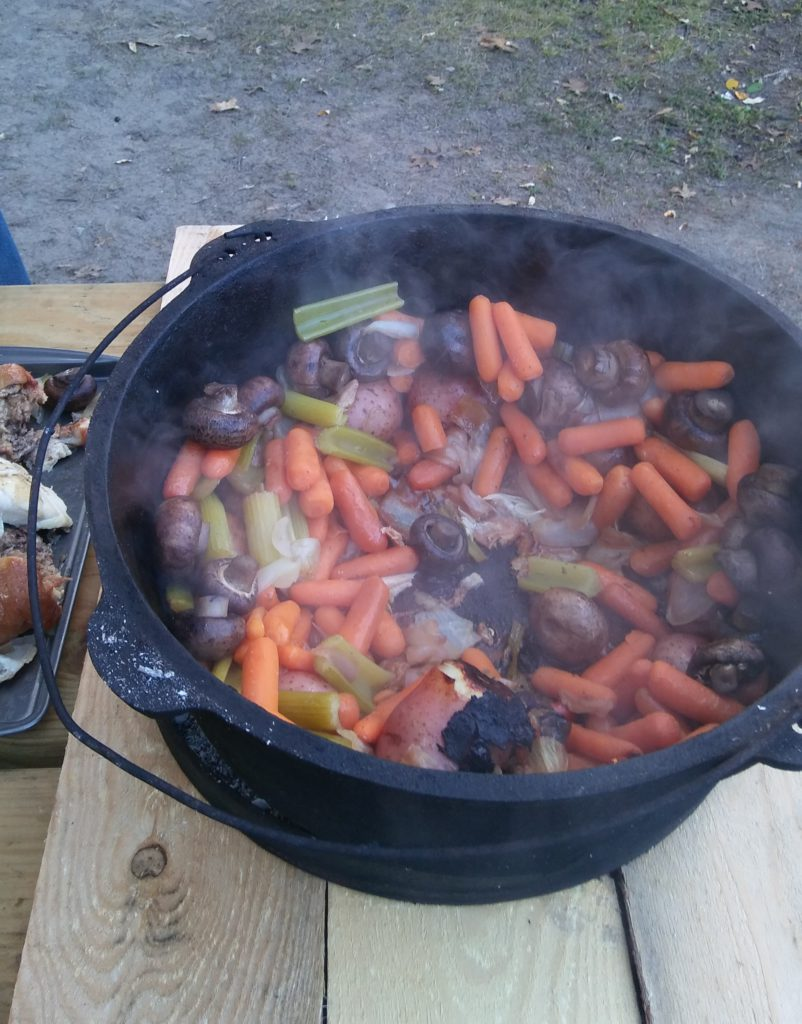 Cooking Over An Open Fire Pit - Chicken and Vegetable Dinner